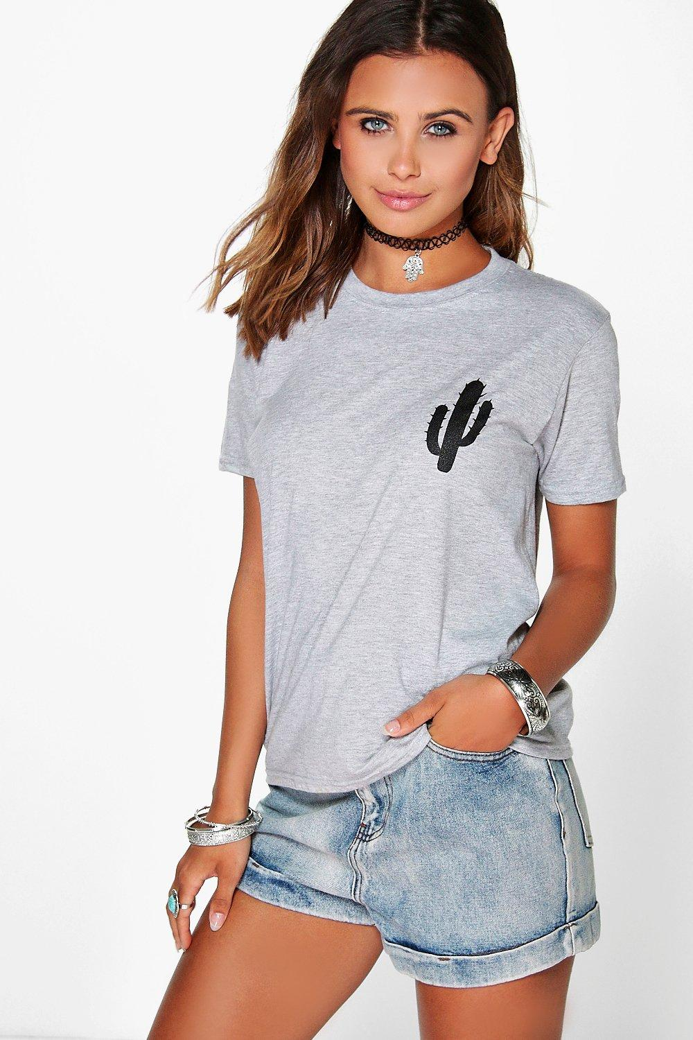 Petite Tammy Cactus Placement Print Tee