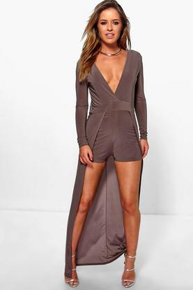 Petite Clarissa Wrap Over Playsuit