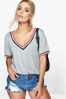 Plus Jaden Rib V Neck Detail Tee
