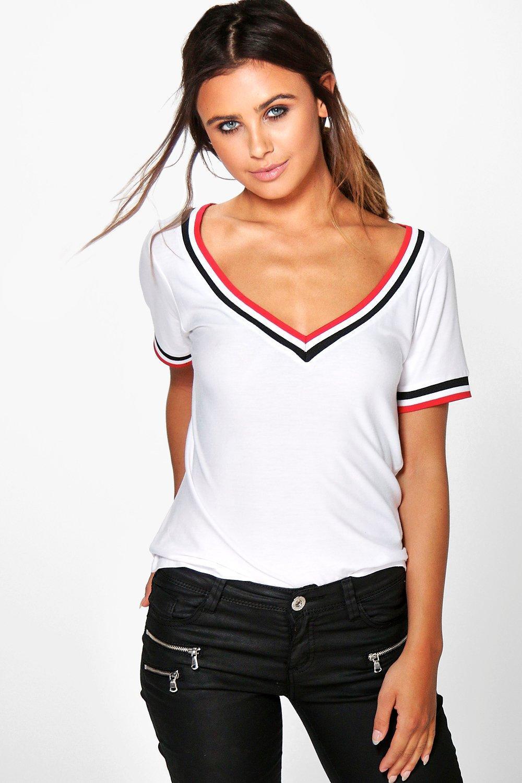 Womens Petite Geripptes T-Shirt mit V-Ausschnitt - Weiß - 34, Weiß - Boohoo.com