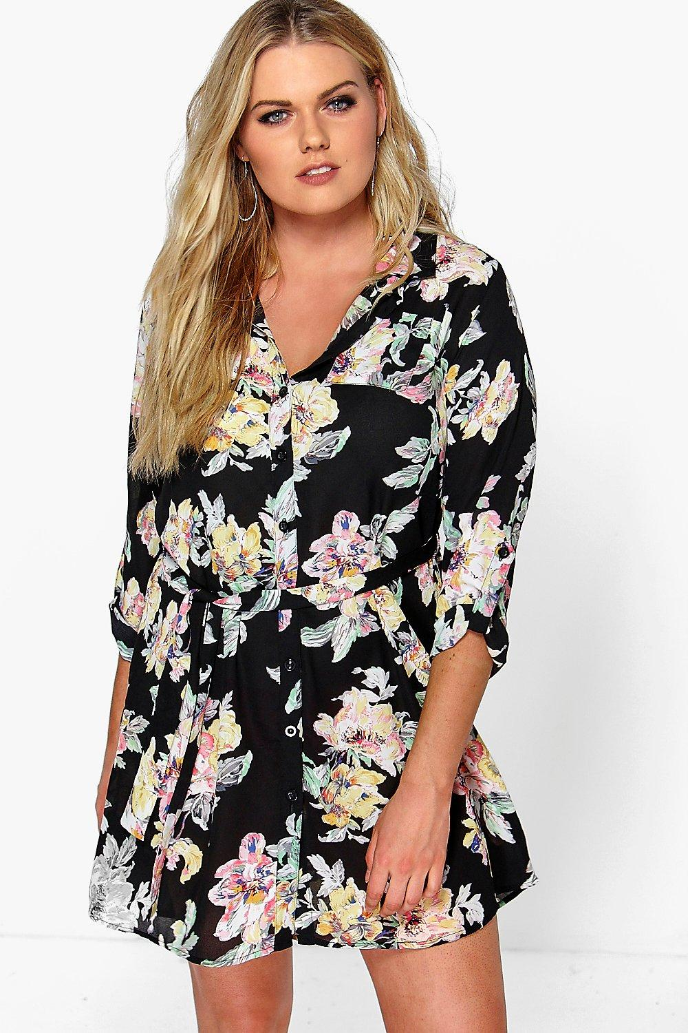 Plus Eleanor Floral Shirt Dress