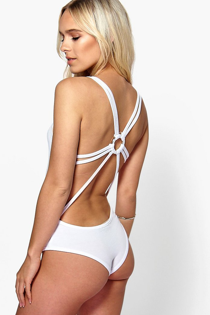 Petite Nina Trim Back Strappy Bodysuit