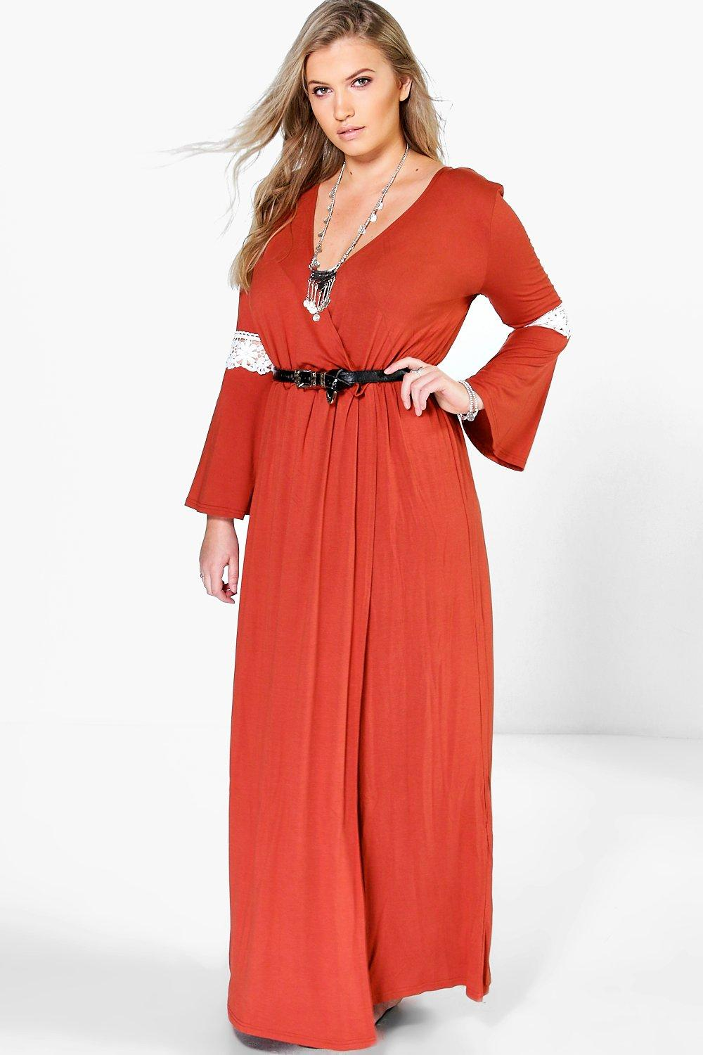 Plus Willow Wrap Front Lace Detail Maxi Dress