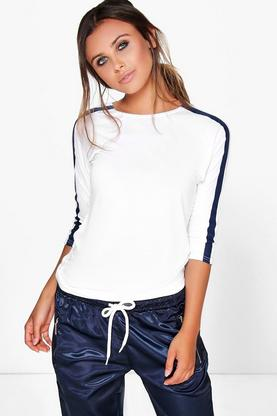 Petite Shauna Stripe Sleeve Sports Tee