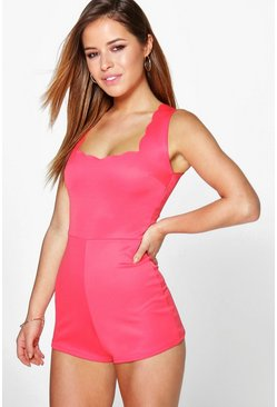 Petite Millie Scallop Neckline Playsuit