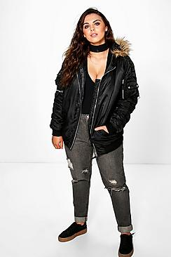 Plus Tami MA1 Bomber With Faux Fur Hood