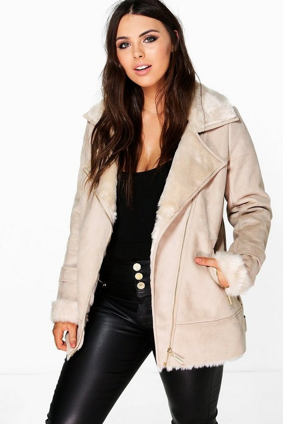Plus Mya Bonded Faux Fur Suedette Aviator Jacket