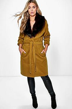 Plus Lola Robe Coat With Faux Fur Shawl Collar