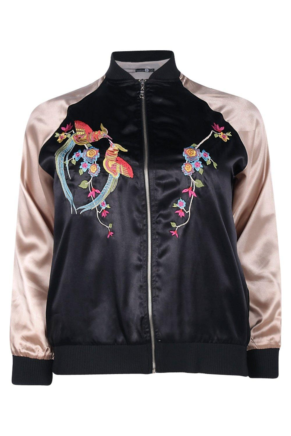 Boohoo womens plus ciara embroidered satin bomber jacket