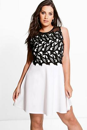 Plus Natalia Crochet Detail Skater Dress