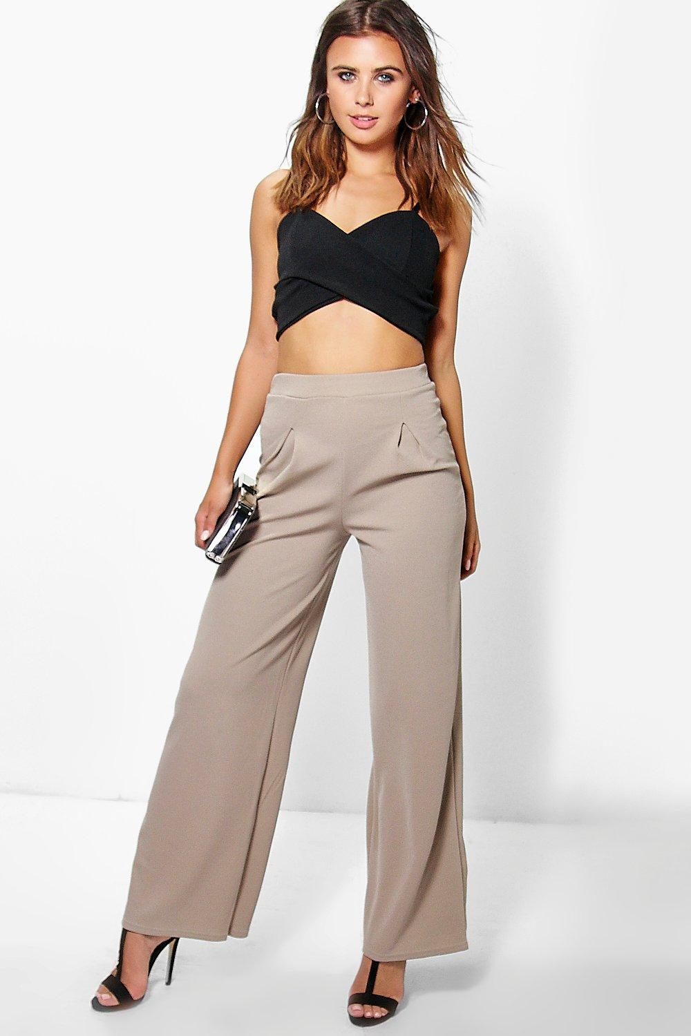 Millie Wide Leg Pleat Trouser sand