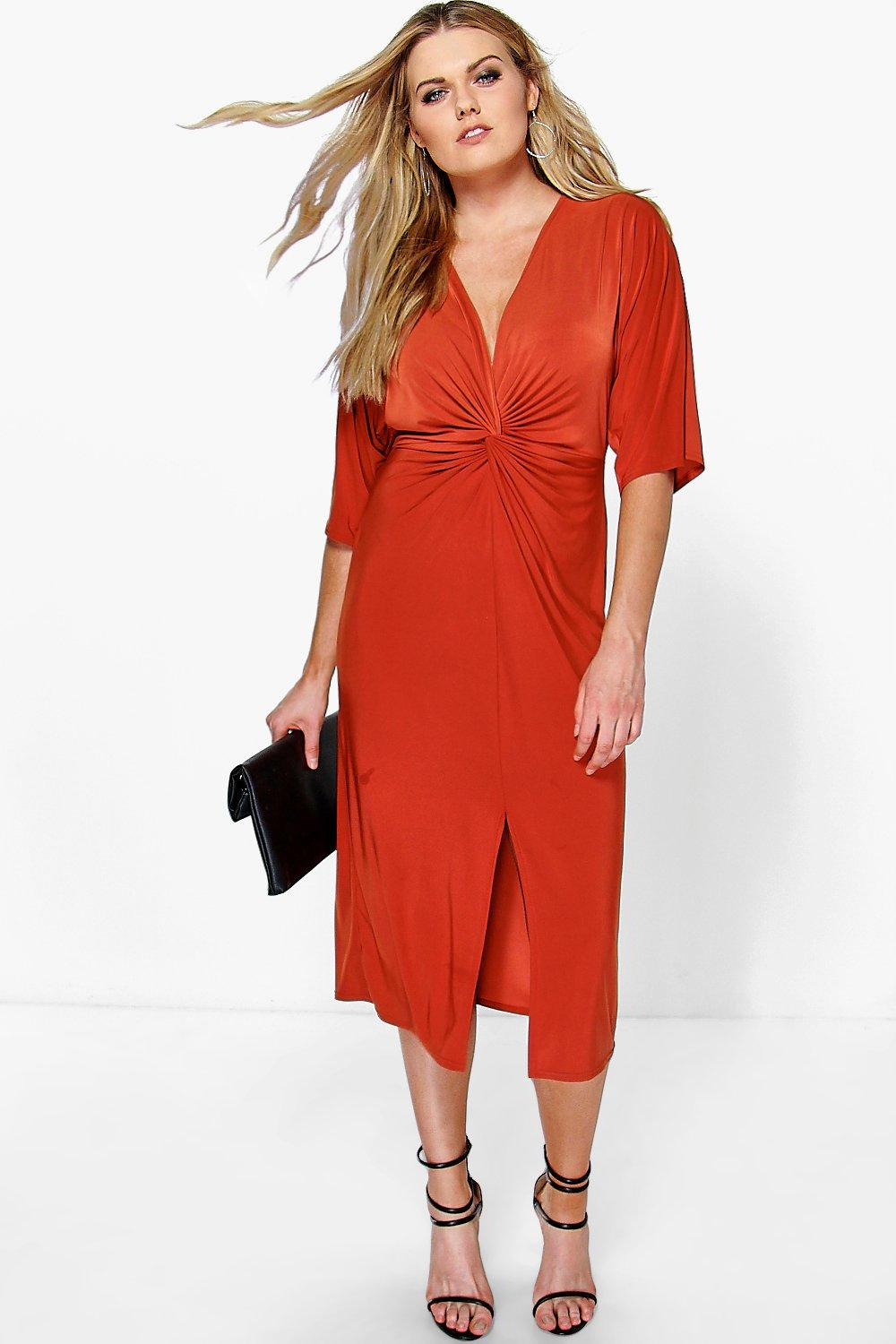 Plus Esme Kimono Sleeve Wrap Front Midi Dress