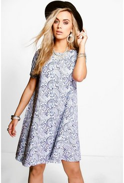 Plus Florence Paisley Short Sleeve Swing Dress