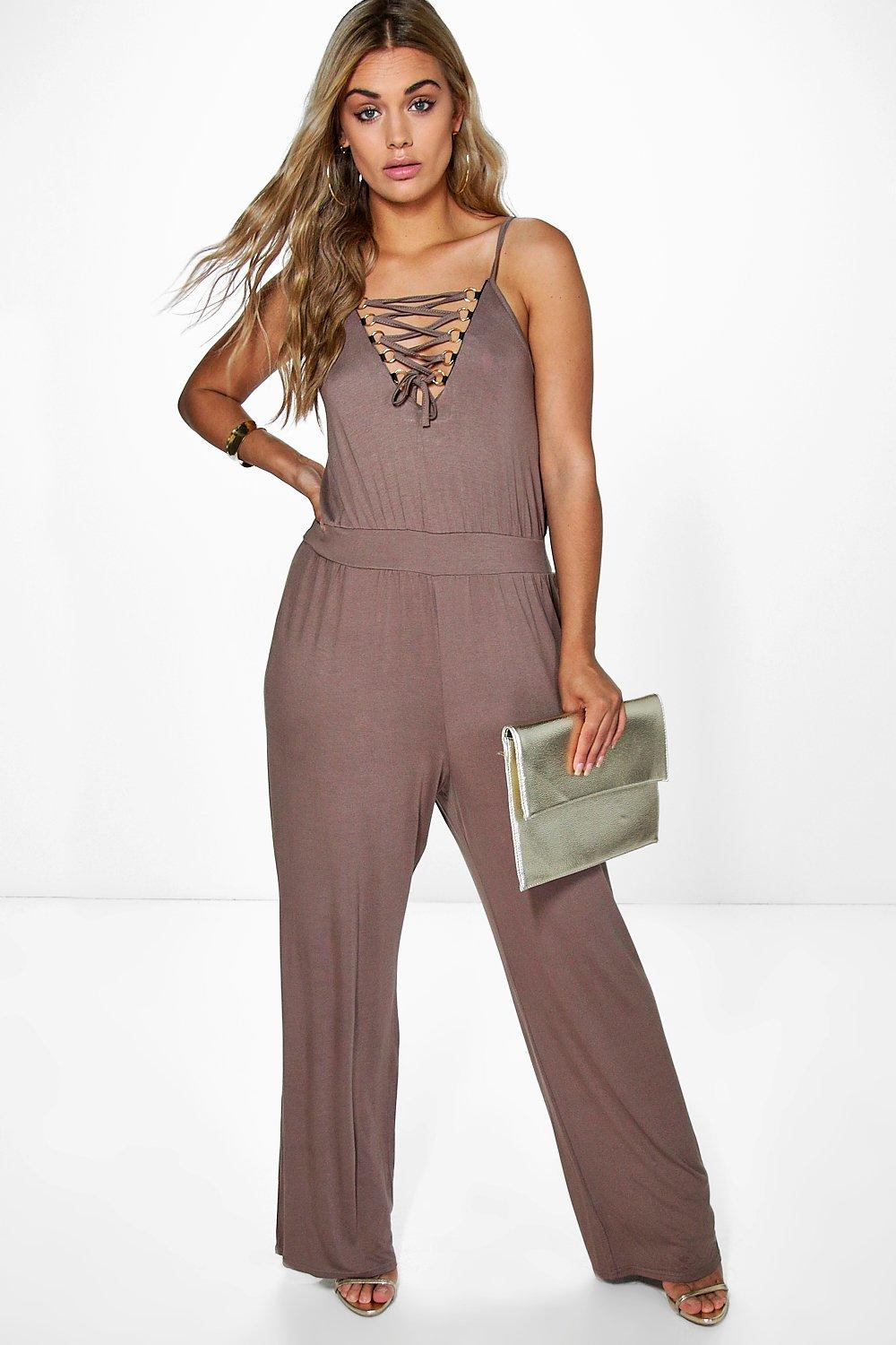 Plus Annabelle Lace Up Detail Jumpsuit
