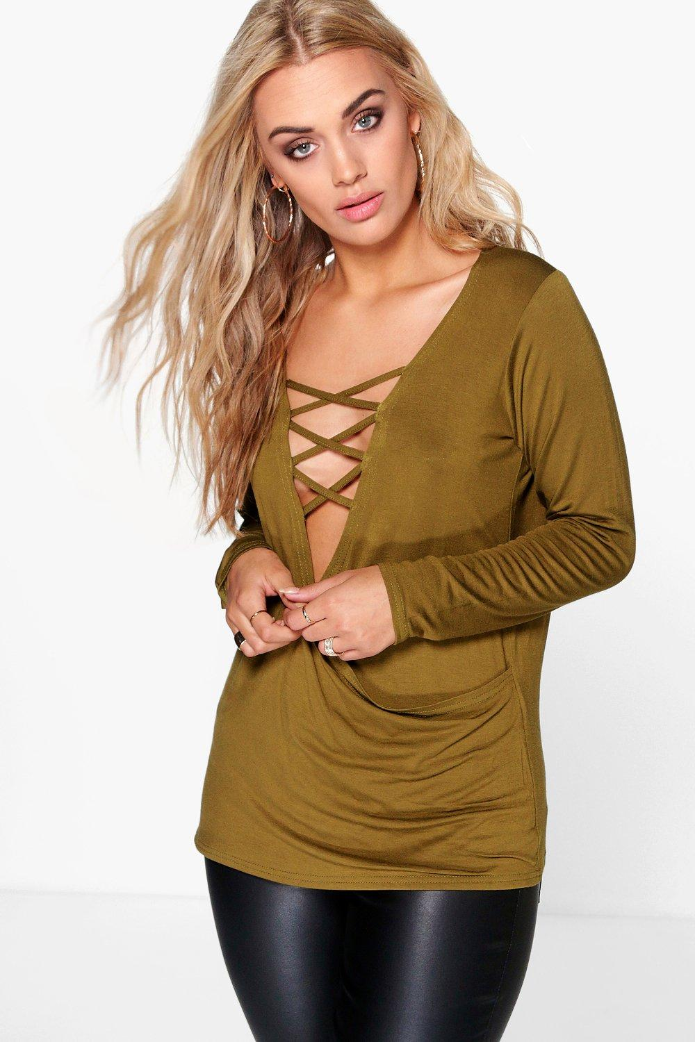Plus Gabriella Lace Up Detail Wrap Top