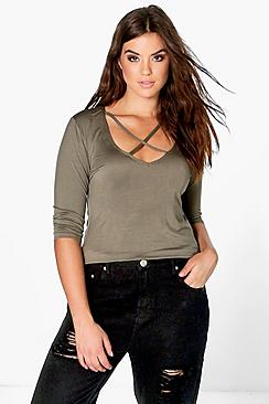 Plus Kaylee Plunge Neck Strappy 3/4 Sleeve T-Shirt