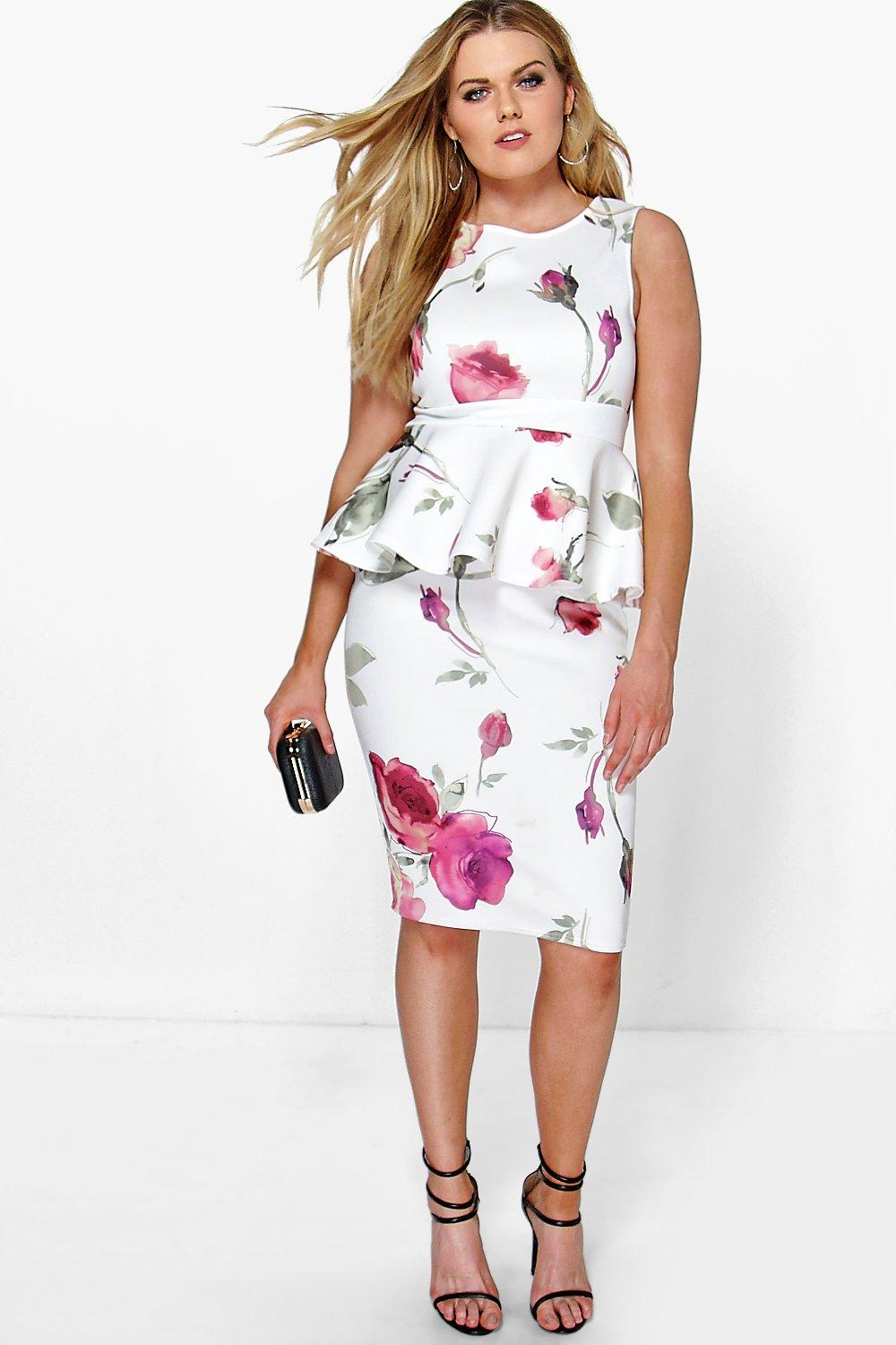Plus Kimmy Floral Peplum Midi Dress