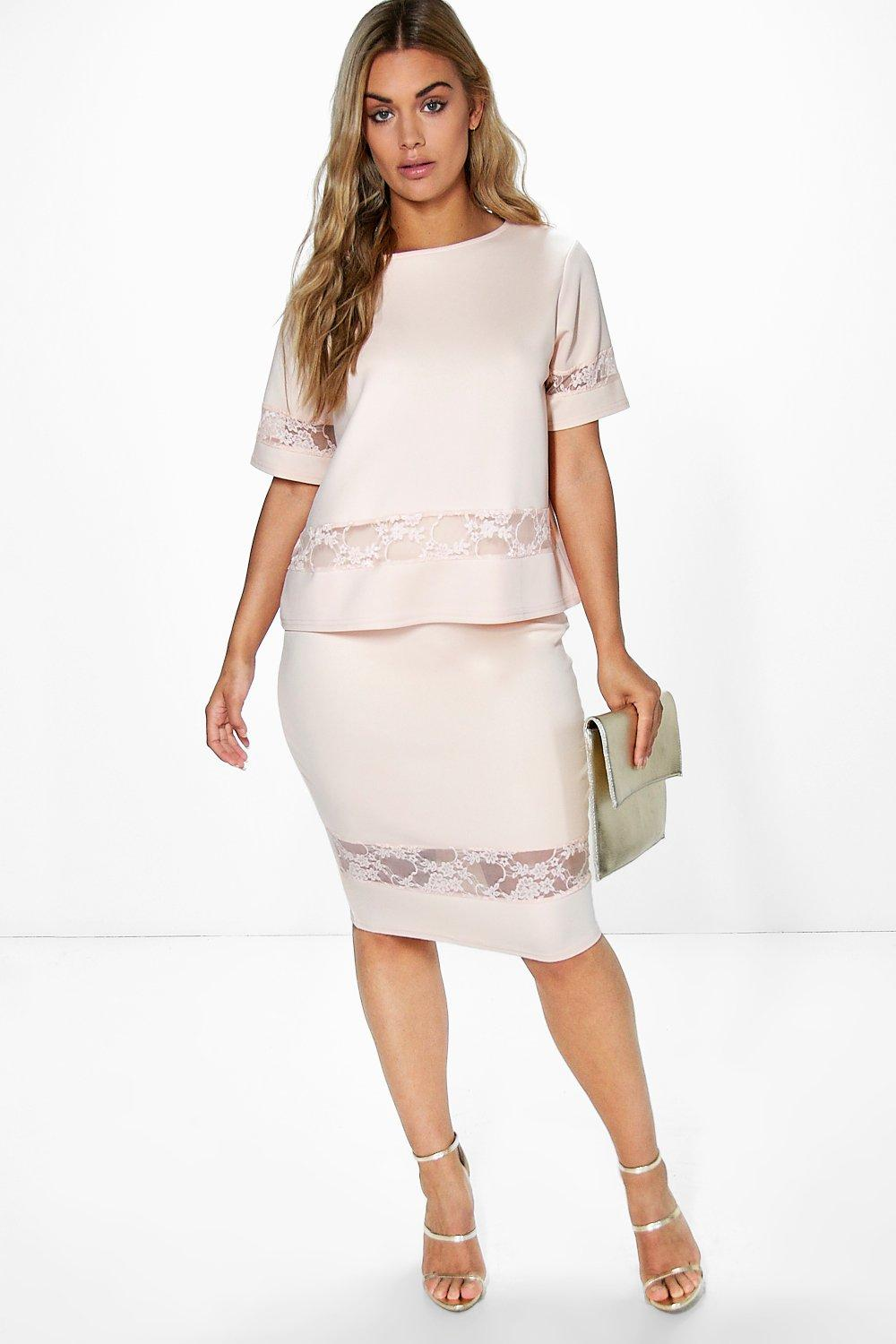 Plus Caroline Lace Panel Midi Skirt