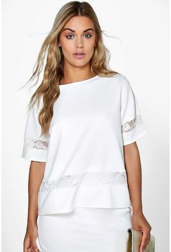 Plus Jordanna Lace Panel Shell Top