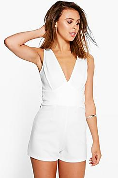 Petite Roxanne Cross Back Detail Playsuit