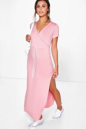 Petite Jo Wrap Front Drawstring Waist Maxi Dress