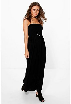 Petite Rhiannon Shirred Jersey Maxi Dress