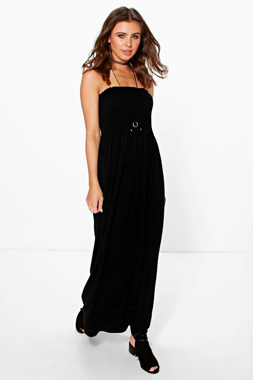 Petite Rhiannon Shirred Jersey Maxi Dress | Boohoo