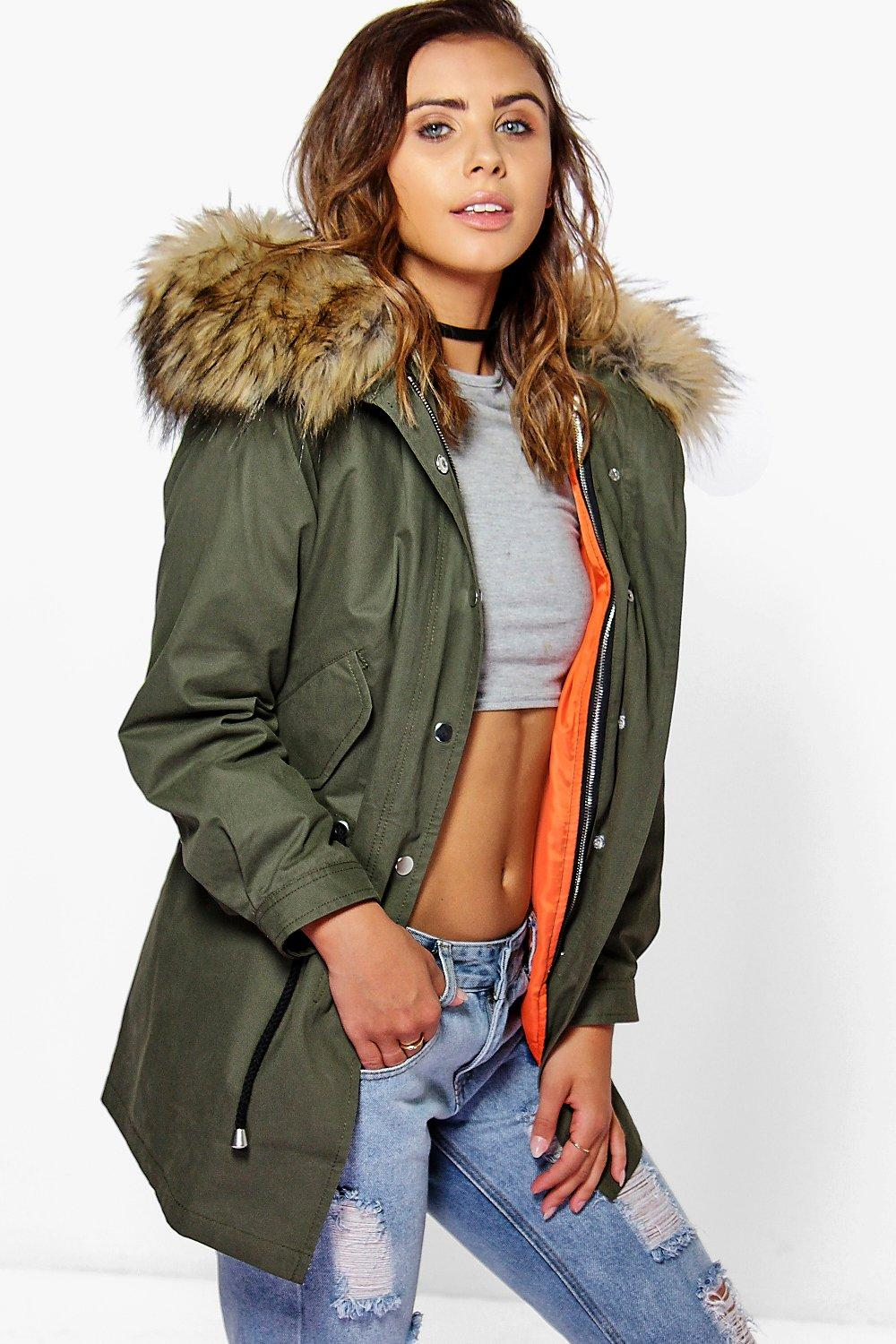 Liv 2 In 1 Zip Out Parka With Faux Fur Hood  khaki