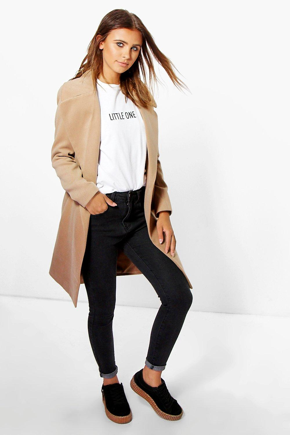 Petite Rebecca Oversized Camel Collar Coat | Boohoo
