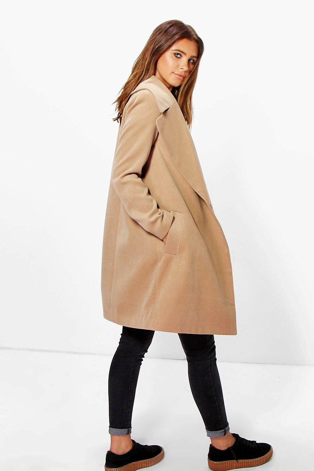Petite Rebecca Oversized Camel Collar Coat at boohoo.com