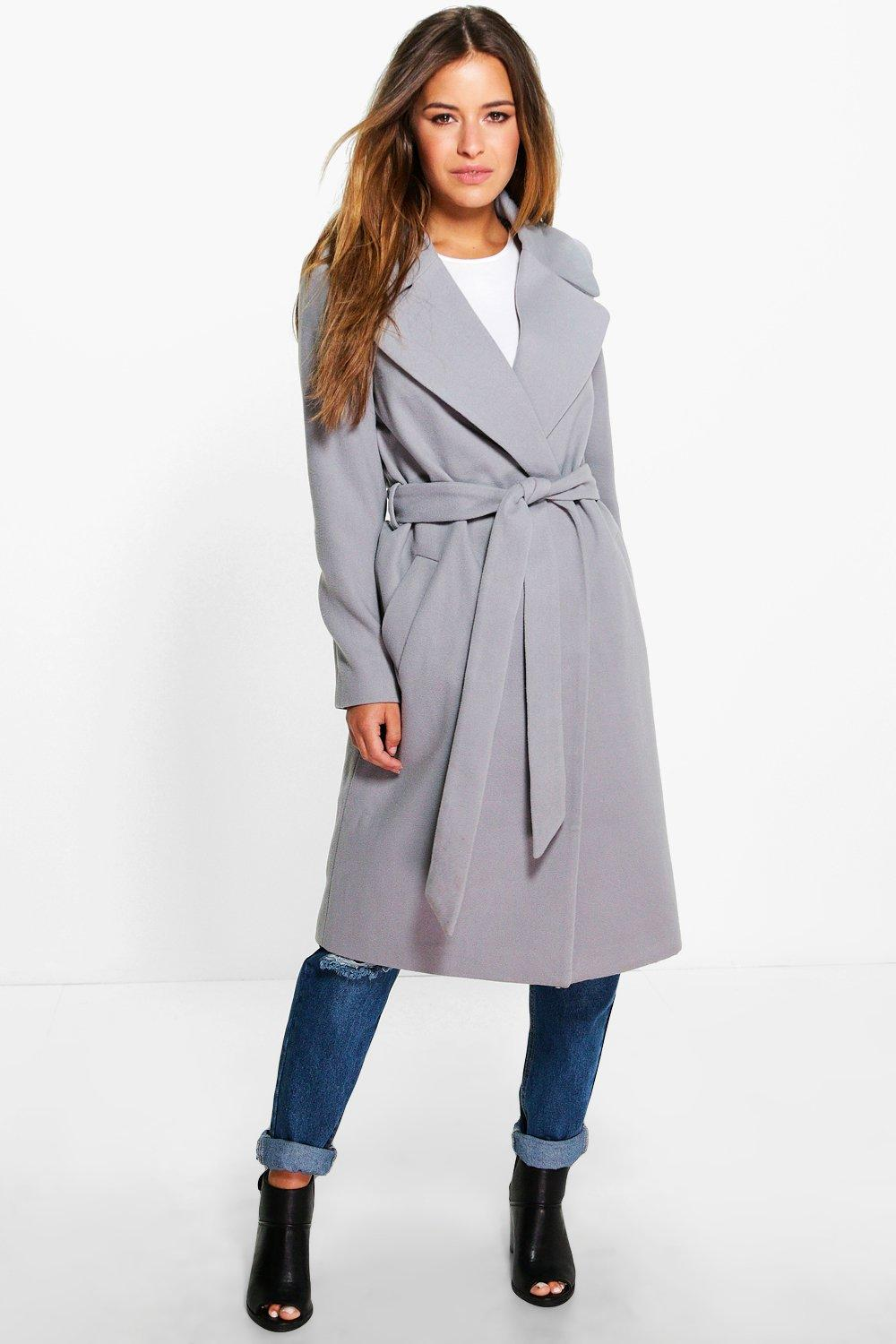 Petite Anna Oversized Collar Belted Robe Coat