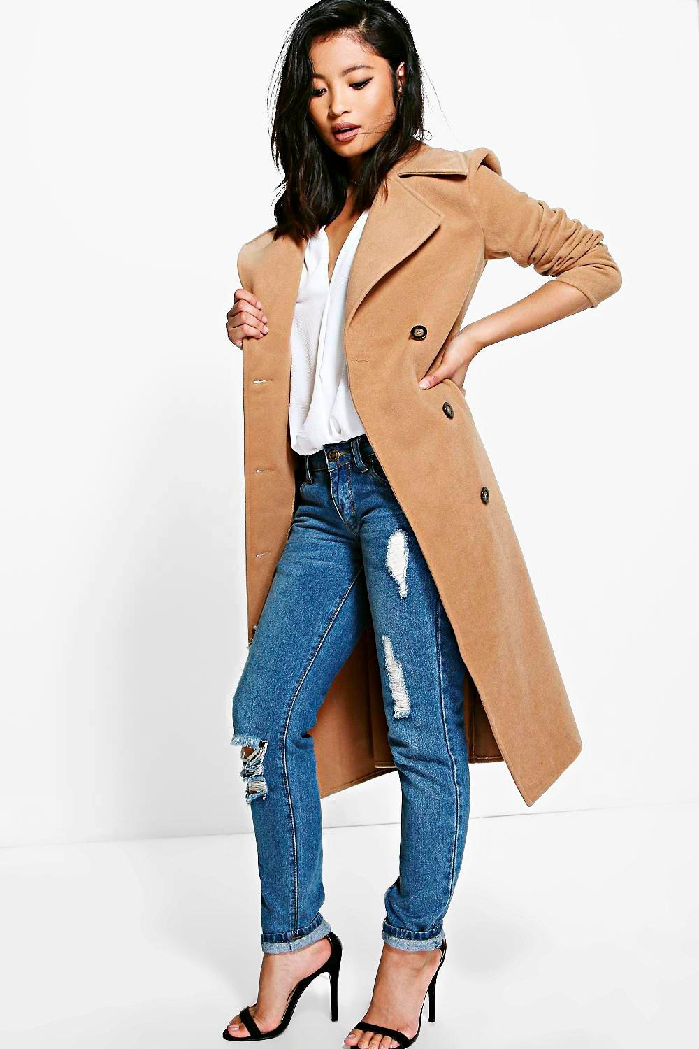 Petite Erin Belted Wool Look Robe Duster Coat | Boohoo