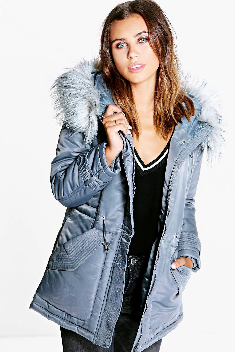 Petite Mia Luxe Parka With Faux Fur Hood