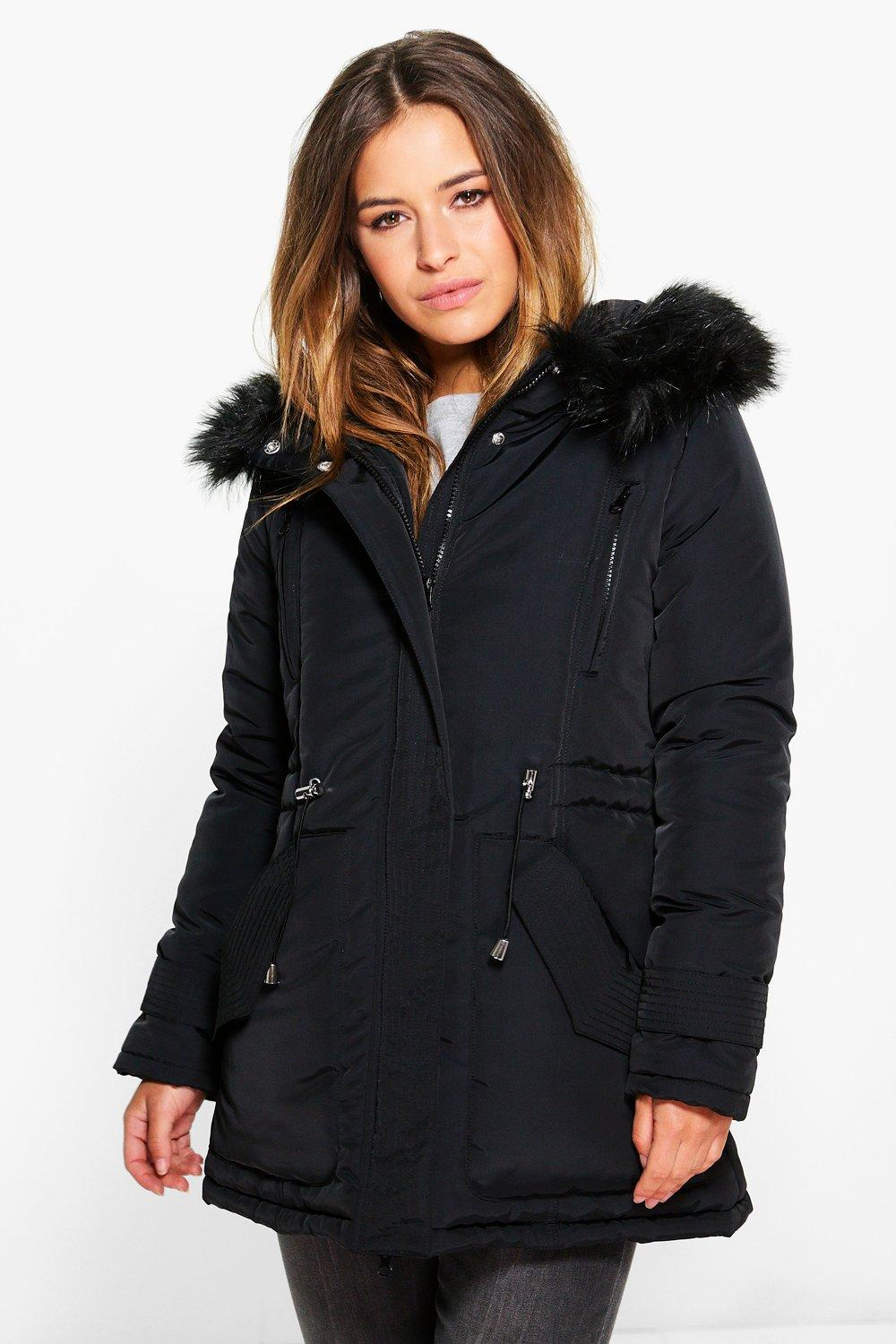 Petite Lilly Luxe Parka With Faux Fur Hood | Boohoo