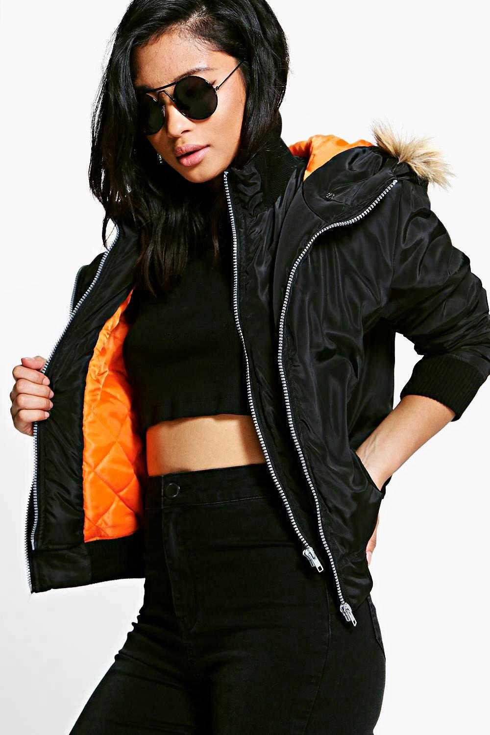 Petite Megan Double Layer MA1 Bomber Jacket