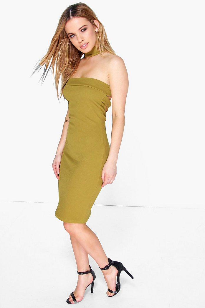Petite Zoey Neck Detail Bandeau Midi Dress
