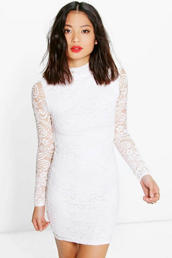 Petite Eve All Over Lace High Neck Bodycon Dress