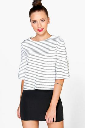 Petite Abbie Stripe Frill Sleeve Open Back Shell Top