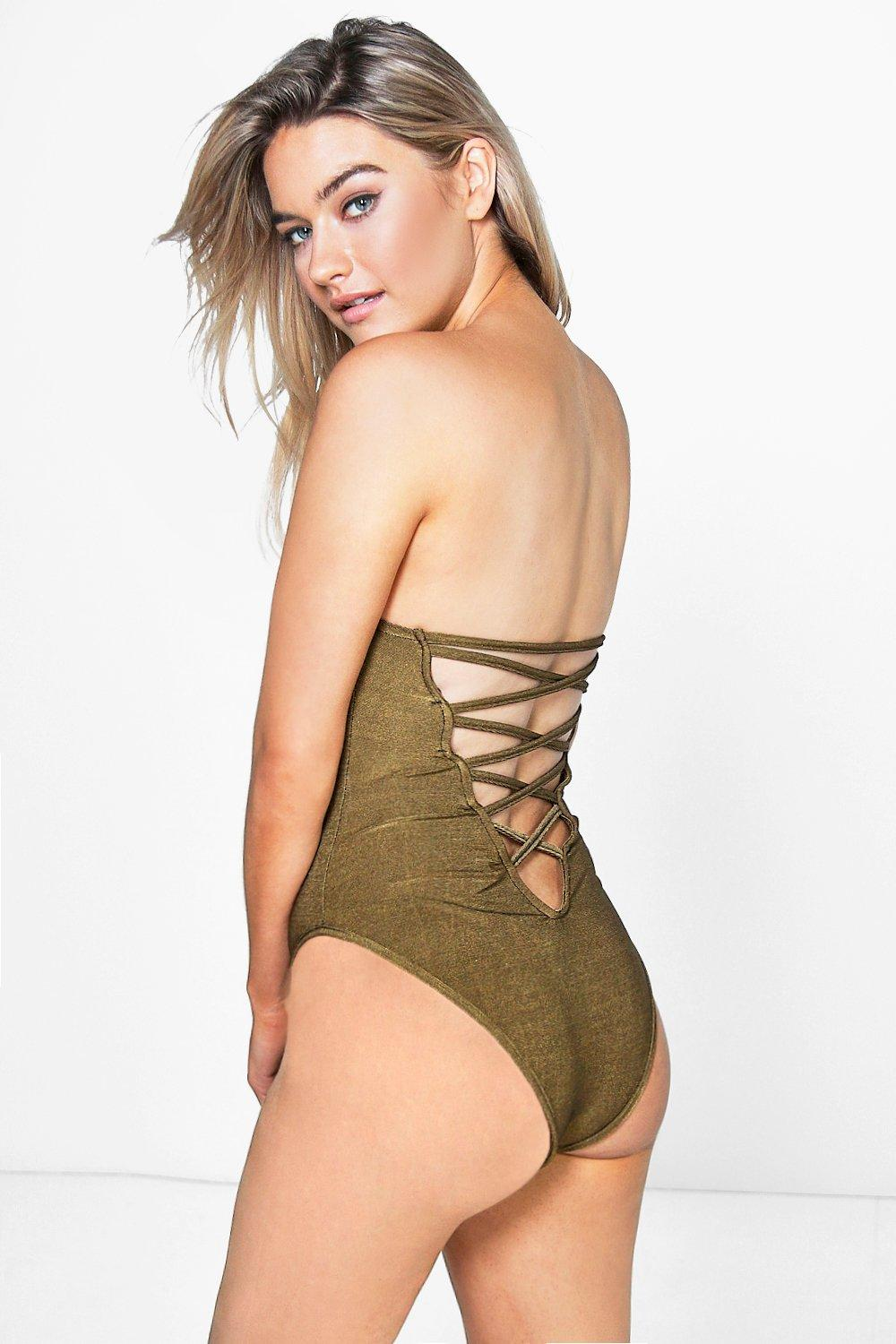 Petite Hope Strappy Back Bandeau Bodysuit