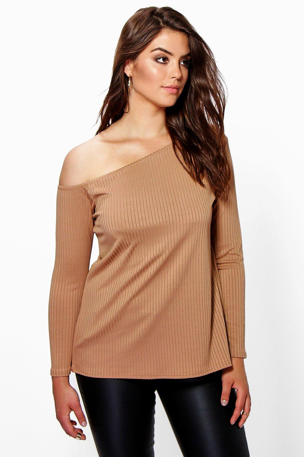 Plus Kelly Off The Shoulder Ribbed Top