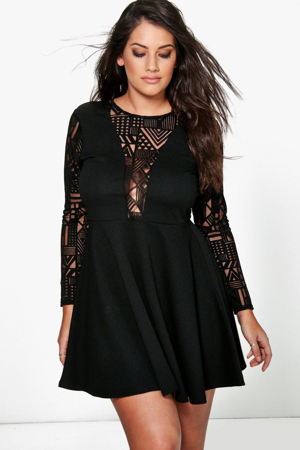 Plus Elisa Lace Sleeve Skater Dress