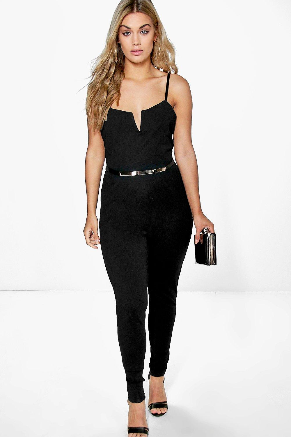 Plus Annabella Plunge Belted Jumpsuit