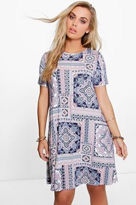 Plus Melissa Tile Print Swing Dress