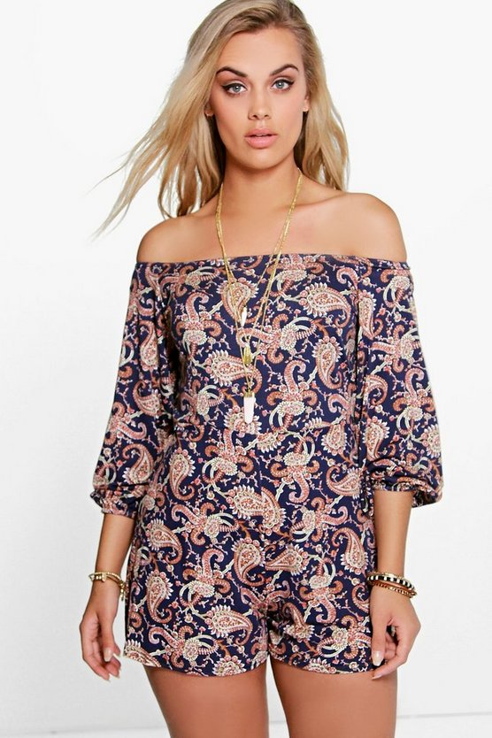 Plus Paisley Print Off The Shoulder Playsuit