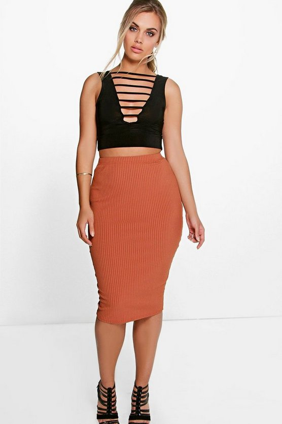 Plus Chantelle Ribbed Midi Skirt