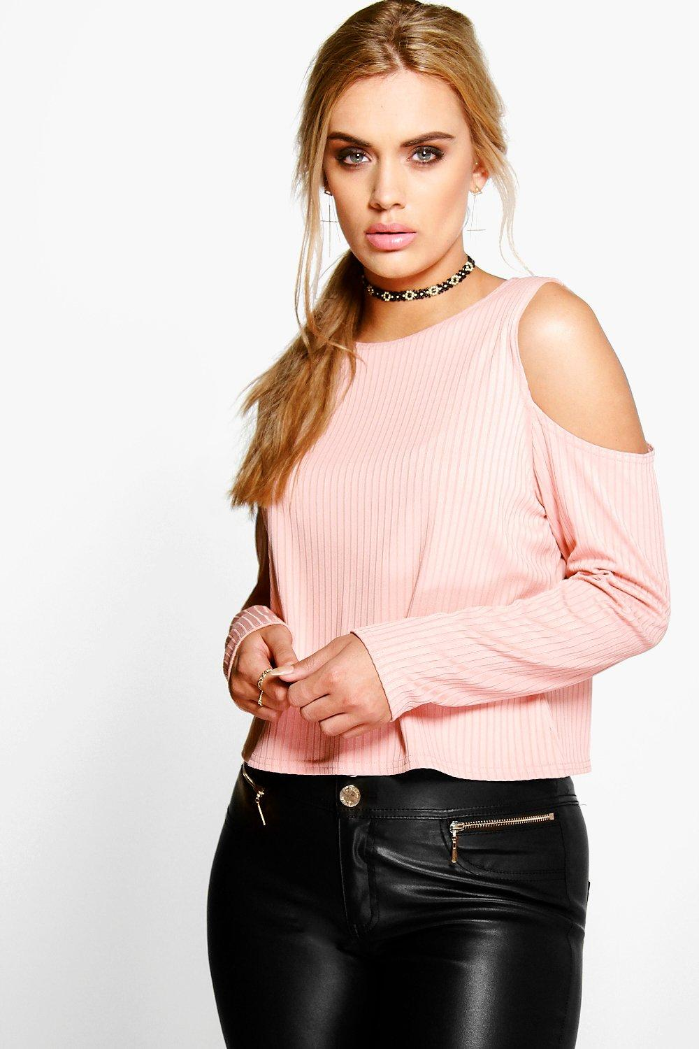 Plus Leanne Open Shoulder Knitted Top