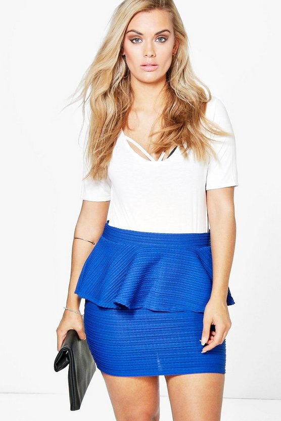 Plus Heather Peplum Mini Skirt