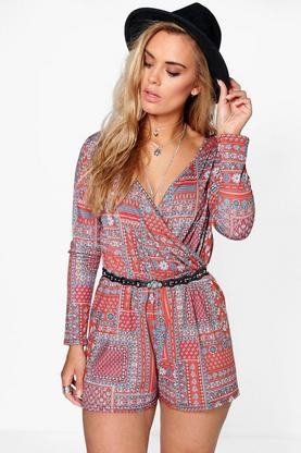 Plus Georgina Printed Wrap Front Playsuit