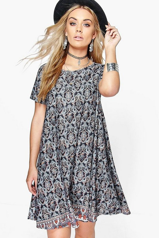 Plus Jenny Paisley Print Swing Dress