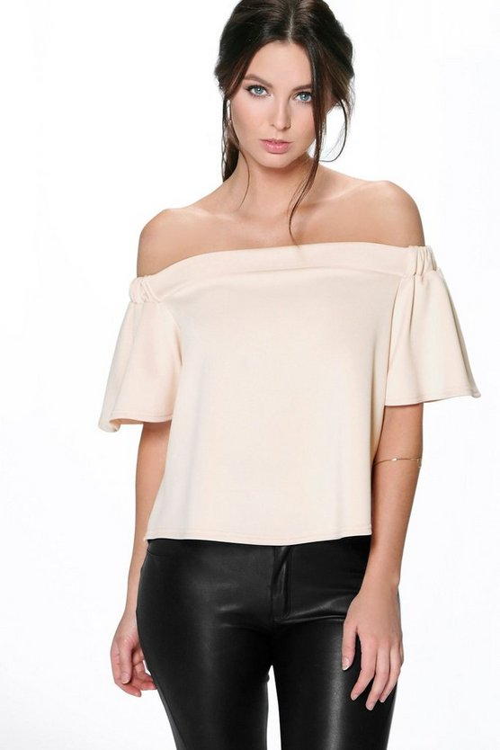 Petite Off The Shoulder Scuba Frill Top